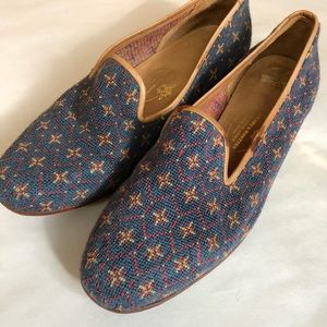 Stubbs and Wootton blue needlepoint loafers Sz 8.5